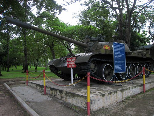 A copy of the tank that broke down the gate on April 30, 1975