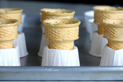 ice cream cones supported by cupcake papers