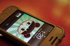 Harajuku (TerryJohnston) Tags: macro green apple macintosh mac dof phone display bokeh cellphone cell theme monday challenge iphone macromondays macromonday g33kpr0n anythinggreen