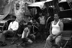 DSC_0377 (Tanja on flikr) Tags: 2005 bw india group rickshaw kolkata puller westbengal black38white