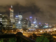 Perth skyline (Synapse-) Tags: nightphotography skyline lights cloudy perth freeway cbd westernaustralia