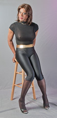Shiny Black with Mules (kaceycd) Tags: capri shiny highheels pants tgirl transvestite tight bodysuit mules pantyhose crossdress spandex lycra tg capripants