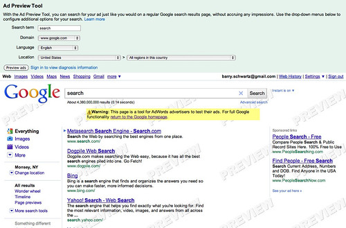 New AdWords Preview Tool