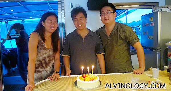 With the birthday cake