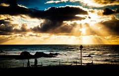 Stroll (grotography) Tags: sun seascape silhouette clouds nikon cornwall d2x suset bude
