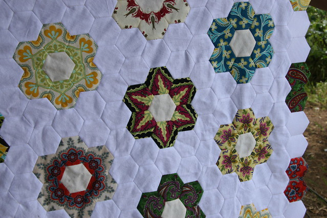 Hexagon quilt so far