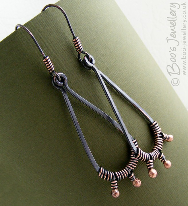 Oxidised copper wrapped bud teardrop earrings 16559f