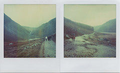 I Would Bring You Ireland (Rhiannon Adam) Tags: ireland mist wet polaroid sx70 diptych pair lakes glendalough wicklow walkers timezero expiredfilm uppervalley glacialvalley integralfilm alpha1camera gleanndlo