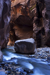 The Narrow Way (Brent McGuirt Photography) Tags: park blue light water river rocks canyon boulder hike virgin reflected national zion narrows