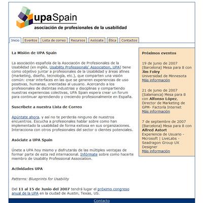 Página de inicio del nuevo diseño de UPASpain