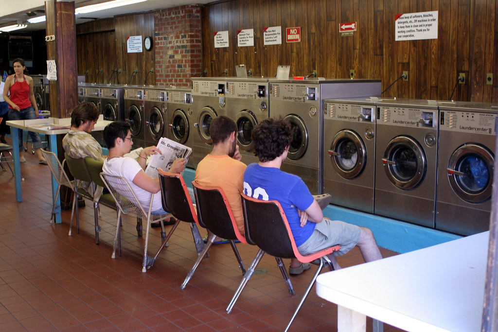 Guys doing laundry