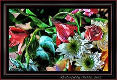 Flower Frenzy (Rebel XT Shots / Bobbie) Tags: travel flowers red white green art colors daisies garden searchthebest explore frame bouquet rebelxt photoart soe superbmasterpiece diamondclassphotographer flickrdiamond picturepages rebelxtasy