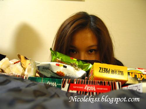 me with lots of Japan snacks