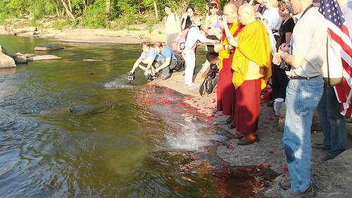 Tibetan Monks bless the James River
