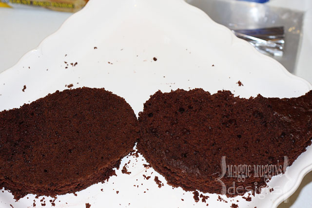 Prepping the Mustache Cake