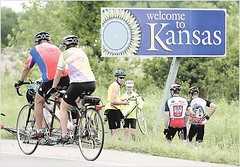 Oklahoma FreeWheel 2006 riders at rides end on the border with Kansas