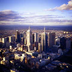 Melbourne 120 (memetic) Tags: blue sky tower 120 clouds rolleiflex buildings mediumformat high cityscape view kodak melbourne e100vs eureka skydeck 35e