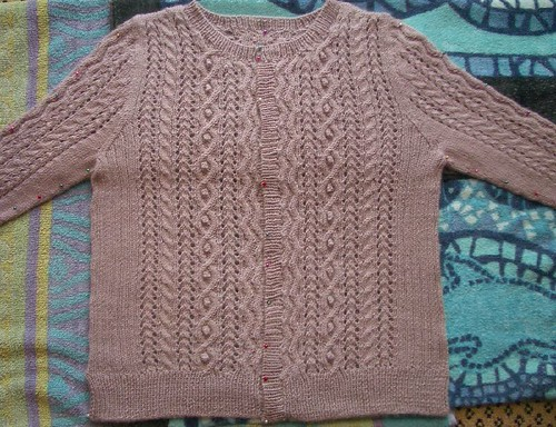 lacy cable cardigan blocking