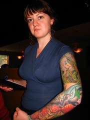 I'm Starting to Specialize in Raleigh Waitresses with Cool Arm Tattoos (abbyladybug) Tags: tattoo colorful raleigh explore nicci nosering waitress piercings fireants moonlightpizza