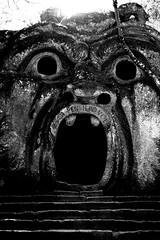Orco (claudia_perilli) Tags: parco monster mask pietra viterbo mostro maschera giardino lazio bomarzo orco italybw artinbw holegarden