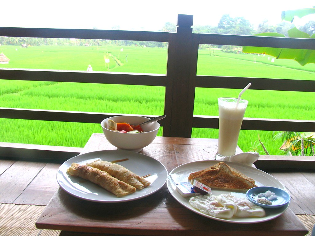 Breakfast on our terrace at Tegal Sari
