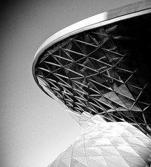 bmw world (myfear) Tags: sky blackandwhite bw reflection lines architecture geotagged nokia explore pirate bones lightroom bmwwelt n73 artlibre highestposition53onwednesdayseptember122007 httpwwwbmwweltde geo:lat=48176674 geo:lon=1155766 dopplr:explore=is51