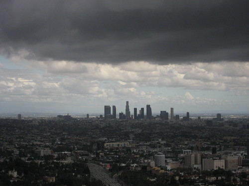 downtown LA during storm