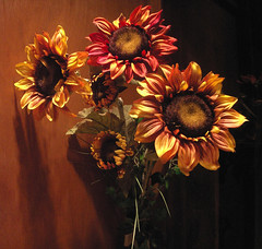 Classic Sunflower Fall Bouquet, Prescott, AZ (cobalt123) Tags: flowers autumn arizona stilllife orange brown fall catchycolors rust warm shadows fallcolors sunflowers copper bouquet arrangement prescott artificialflowers shotinthedark abigfave compositionfirst 3mytop100 onwhiskeyrow qarizona