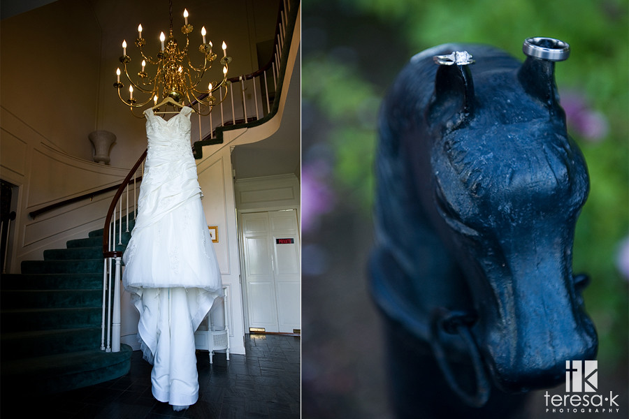 Beautiful wedding dress and rings by Teresa K photography