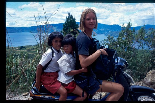 Nicolai giving two young school girls a lift on Sumatra, 1996.