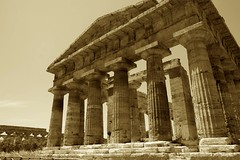 The Temple of Apollo (Rob Shenk) Tags: old italy sepia architecture canon greek italia campania bc roman columns temples napoli paestum 30d heritagesite15