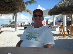 Ron in shade of tiki hut, Progreso Mexico (ronnc71) Tags: johnson ron