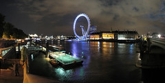 London at Night, Panorama 2 (Ian Muttoo) Tags: uk bridge england autostitch panorama reflection london thames night river unitedkingdom pano gimp londoneye riverthames thamesriver countyhall westminsterbridge londonaquarium neatimage canons3is