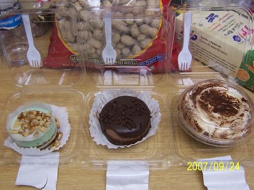 Our moon cakes: cappuccino mousse, chocolate cheese cake, and tiramisu