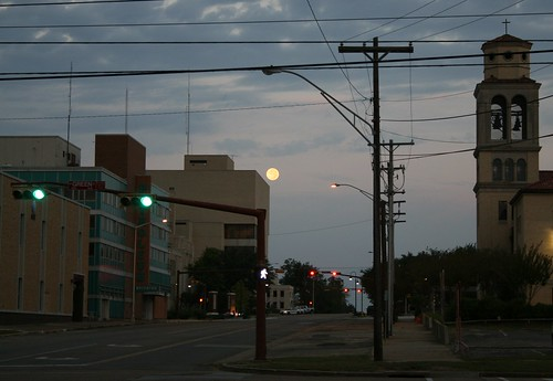 moon goes down over north fredonia street
