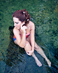 Day 68 -  Lady in the water. (Lisa Brennaman) Tags: pink flowers portrait woman color green nature water photography hands photoblog 365project