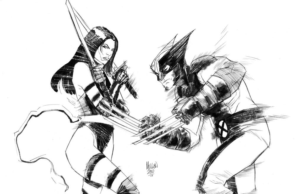 Psylocke/Wolverine by Kevin Mellon