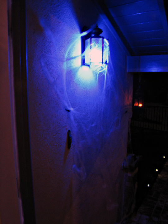 blue eco light front porch+halloween decor