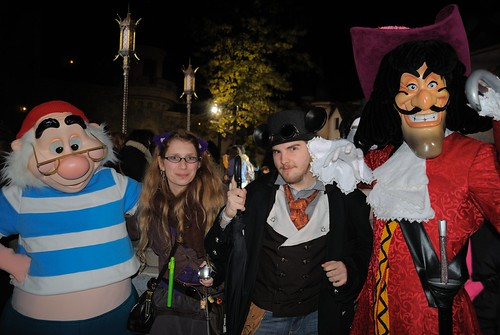With Smee and Captain Hook