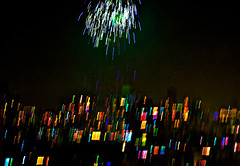 Fireworks over a Metro (sharad_2007) Tags: festival lights colorful fireworks culture rocket diwali mumbai hindu panning deepawali