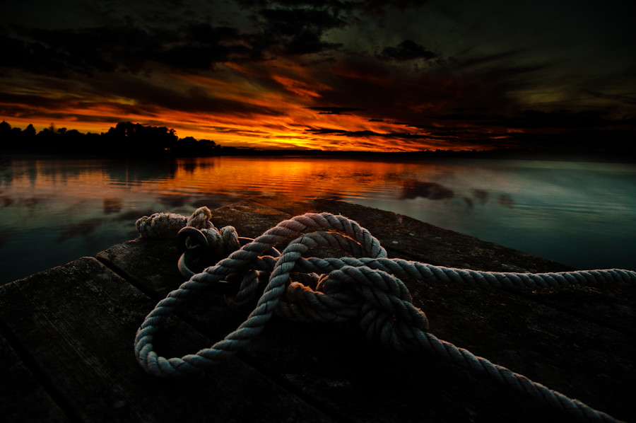 The rope in the sunset