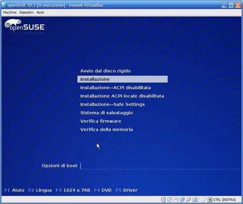 VirtualBox - inizio installazione sistema operativo nella macchina virtuale