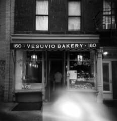 Vesuvio's Ghost (J.T.R.) Tags: nyc bw film analog holga village manhattan bakery mistake vesuvio ruined holga120s ghosting