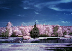 Cottoncandy factory (- Virgonc -) Tags: old pink blue sky house lake holland tree