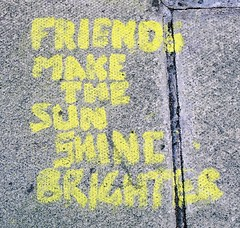 (Mercury81) Tags: friends sun yellow graffiti scotland edinburgh pavement guessed whereedin chrisdoniawon