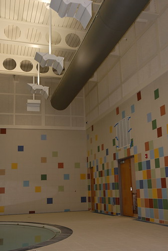 Colorful tiles decorate the walls of the Aquatic Center