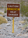 Death Valley Heat Warning Sign