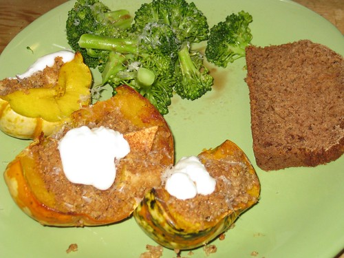 Stuffed squash, apple bread, and broccoli