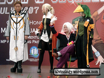 Cosplayers on stage