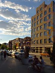 Holy car (emptysquare) Tags: street city nyc newyorkcity light sky urban cloud sun sunlight ny newyork car brooklyn clouds evening parkslope 7 sidewalk carroll 7th sunbeam 7thave slope stationwagon suburu carrollst 7ave